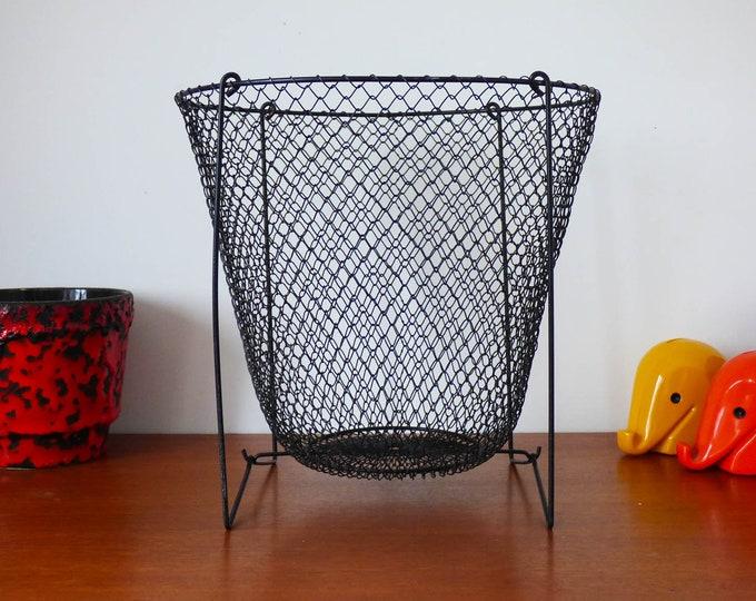 Waste Paper Bin Basket Vintage Foldable Industrial