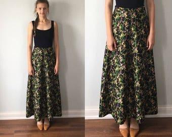 Vintage Black Floral Maxi Skirt, 1970s Skirt, Black Floral Skirt, Maxi Skirt, Floral Skirt, Vintage Skirt, Vintage Maxi Skirt