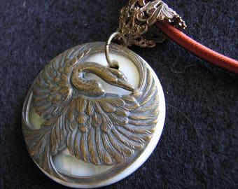 Brass necklace pendant | mother of  pearl | bird | swan | crane | moon | silk