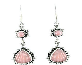 Summer Sale : ) Pink Peruvian Opal Sterling Earrings Carved Shell Small
