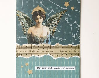 Handmade Card -- We are all made of stars -  vintage music, celestial , OOAK Collage, teal, wings, graduation