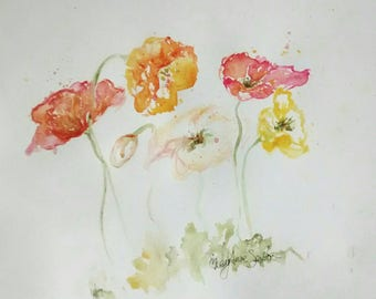 Fresh Spring Poppies by CheyAnne Sexton small ORIGINAL watercolor bright  6x8