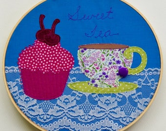 Sweet Tea Free Motion Stitched Applique  Hoop Art.