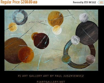 17% OFF /ONE WEEK Only/ The Planets abstract knife by Paul Juszkiewicz brown red blue yellow