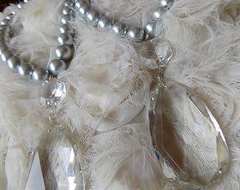 PAIR OF  beaded tiebacks grey glass pearls curtain holders with crystal drop pendant, decorative tiebacks