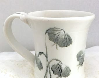 Satin white coffee cup, ceramic tea cup, porcelain hot chocolate mug, white cup with hand painted flowers , dainty white tea cup,