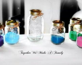 11  Piece Sand Ceremony set, Together we Make a Family 9 pouring vases mason jars, Wedding Sand Ceremony Set, Personalized Sand Ceremony Set