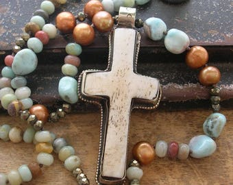 Southwestern boho cross necklace - Gifted - knotted gemstone necklace, boho jewelry, long necklace, larimar necklace long beaded necklace