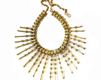 Antique Gold tribal Necklace-Fringe Necklace-Gold BIB Necklace-Kuchi Kutchi Jewelry Temple necklace,Indian Ethnic necklace Gift ,ZN520G