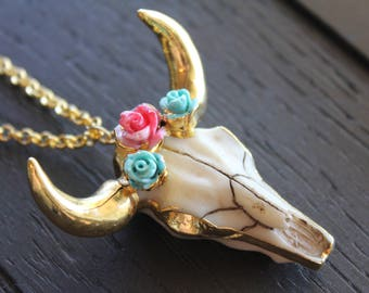 Longhorn Necklace Boho Necklace Boho Jewelry Bohemian Necklace Bohemian Jewelry Cattle Necklace Electroformed Necklace Flower Cow Skull