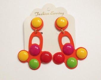 SALE Amazing Vintage 1980s Gigantic Gumball Clowncore Statement Earrings