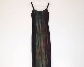 SALE Vintage 1990s Gunne Sax Tourmeline Velvet Bodycon Maxi Dress
