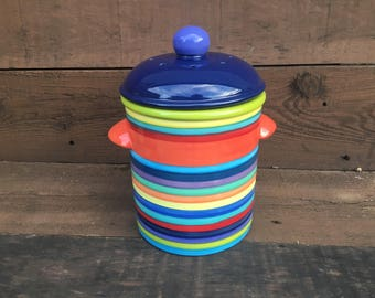 Rainbow Stripes Ceramic Compost Canister with Charcoal Filters - Navy Blue Lid - Apple Green Interior