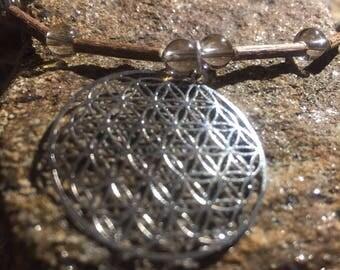 Sterling Silver Flower of Life on Hazel Wood and smokey quartz