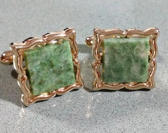Vintage Green and Gold Cufflinks Cuff Links Gold and Green Stone Square Jade Green Fancy Fabulously Fashionable Great Looking Accessories