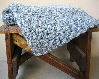 Gray Chunky Crochet Lap Blanket