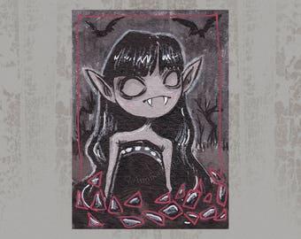 Vampire Girl - Original ACEO, Ink illustration