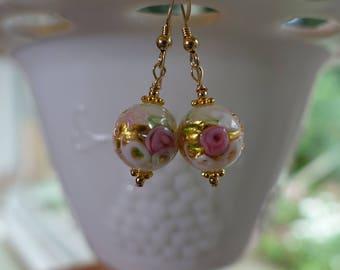 Dogaressa Wedding Cake Venetian Glass Pink Earrings 14K Gold Fill