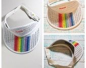 Vintage Rainbow Colored Plastic Braided Hawaii Visor Style Hat by Hawaiian Headwear// Rainbow Visor