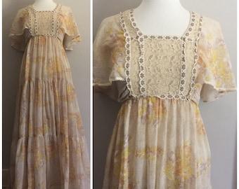 1970s Jody of California Dress // Gunne Sax Style Dress // Hippie, Flowy, Lace, Maxi Dress // 70s Dress