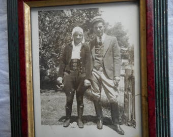 Vintage 1938 Aviator/Equestrian Framed Photo of Couple-Sweet!