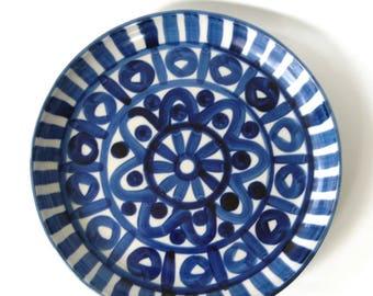 "Dansk Arabesque Cobalt Blue Stoneware Platter Tray Plate 13"" Japan Round"