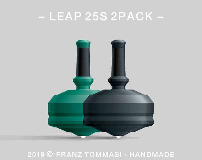 LEAP 25S 2PACK Green-Black – Value-priced set of precision handmade polymer spin tops with ceramic tip and rubber grip