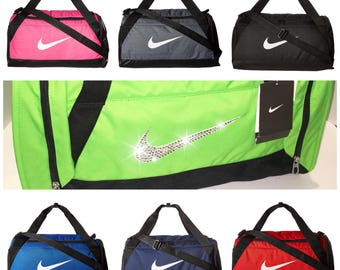 Bling Nike Brasilia Training Duffel Gym Bag with Swarovski Crystal Bedazzled Swoosh * Large