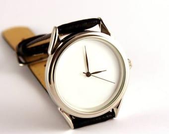 ON SALE 25% OFF White watch, silver color face watch, quartz watch, mens watch, handmade watch