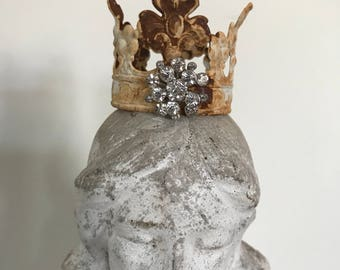 Crown with rhinestone button,patina painted metal crown,fairy crown,religious ,small crown-filigree crown-lace crown,cherub crown