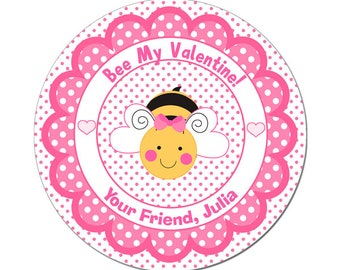 Personalized Valentines Day Stickers Bee My Valentine Cute Bee With Polka Dot Scallop Frame Round Glossy Designer Stickers