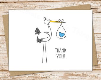 PRINTABLE stork baby boy thank you cards . baby boy stationery . folded note cards . notecards . blue heart  . You Print