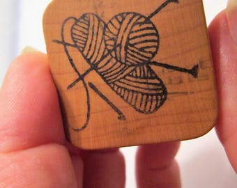 Yarn Needles Rubber Stamp, Knitting Rubber Stamp, Vintage Knitting Rubber Stamp, Wool Knitting Rubber Stamp, Knitting Supply, Stamping