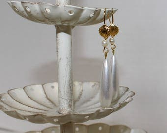 "Beautiful ""Roman pearl"" Drop Earrings, Gold-Filled Earwires, Civil War Appropriate - Affordable Elegance"