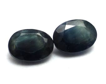 Blue Sapphire 7x5 5x7 7mm x 5mm Oval Pair Vintage Faceted Perfect for Earrings NATURAL Can Be Used with PMC or Metal Clay