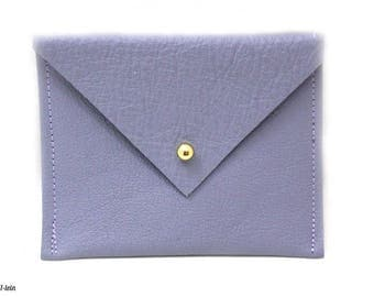 Jeansfarbenes mini purse leather, card holder, business card holder, handmade pouch with ball knob, in the form of envelope