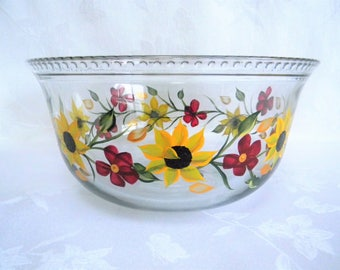 Serving bowl, hand painted bowl, large serving bowl, dinnerware, bowl with sunflowers, painted serving bowl, sunflowers