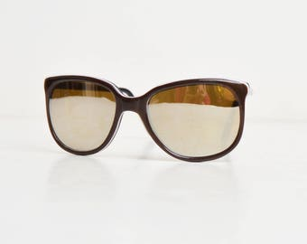 Vintage 70s 80s Brown Sunglasses Gold Mirrored Lenses