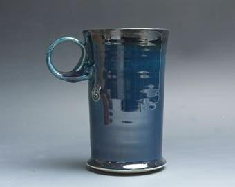 Pottery coffee mug, ceramic mug, stoneware tea cup deep blue 18 oz 4046
