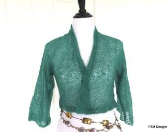 Green Silk Mohair hand knit Shrug, Green Bridal Shrug