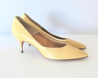 Vintage 1950's Classic Stiletto Pumps / Beige Leather Mr. Seymour Ladies Kitten Heels Designer Shoes Size 8 US