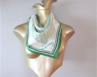 """Vintage Ladies AVON Scarf / Green and White Soft Acetate """"SPORTIF"""" Square Neck or Hair Scarf Made in Japan"""