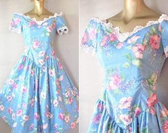 "Vintage 1980's Floral Party Dress / Formal Blue Cotton Pink Rose Print / 80's 90's Garden Tea ""Victorian"" Rose Sundress Size S"