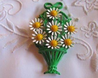 Vintage Enameled Brooch with Green Basket Filled with White and Yellow Daisies