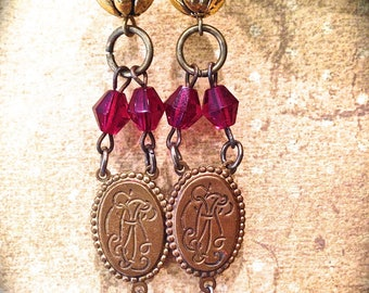 Ruby Dangle Earrings- Handmade vintage metal earrings