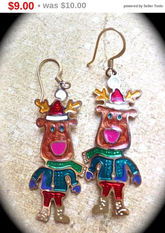 Summer Sale Reindeer Christmas Earrings- Vintage Holiday Earrings- Fun Santa Gifts- Holiday Earrings- Reindeer Dangle Earrings- Holiday G...