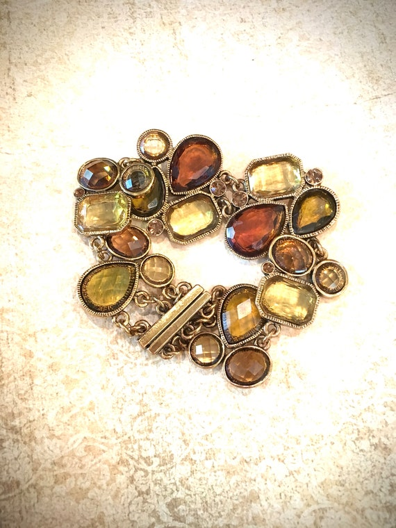Honey Amber Vintage bracelet with geometric cabochons