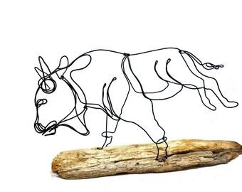 Running Buffalo Wire Sculpture, Buffalo Wire Art, Buffalo Art, 571466047