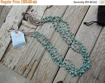 ON SALE Beautiful four strand 28 inch long turquoise and heishi necklace made on the Santo Domingo pueblo, Indian pawn