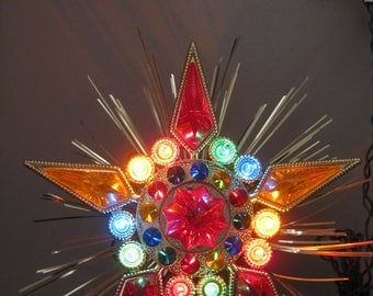 Multi Color Lighted Bejeweled  Christmas Tree Topper